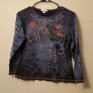 Dressbarn blue long sleeved blouse M